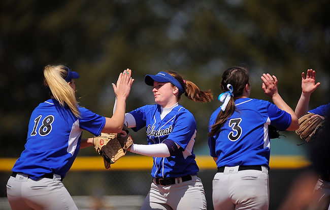 The F&M softball team won the second game of a double-header against McDaniel College at home April 1. The Diplomats now have 4 conference wins this season. (photo courtesy of GoDiplomats.com)