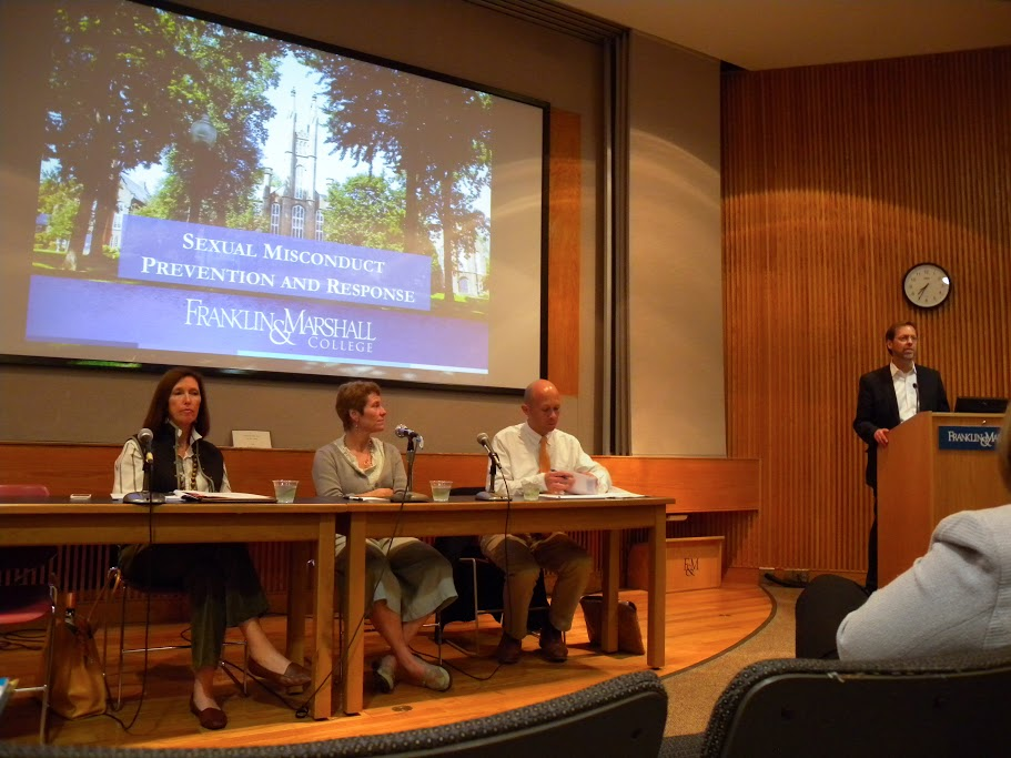 Last Wednesday, Dan Porterfield, president of the College, introduced speakers at a panel to discuss sexual misconduct at F&M: Pierce Buller, general counsel; Margaret Hazlett, dean of the College; and Jan Masland, Title IX coordinator. Photo by Gwendolyn Warren '17