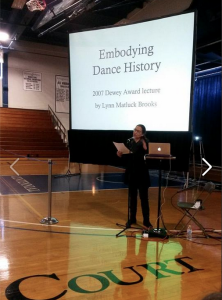 At Comon Hour, Professor Lynn Brooks spoke on the power of dance lineage and the senses for learning dance. Dance students also presented exerpts of their own work.