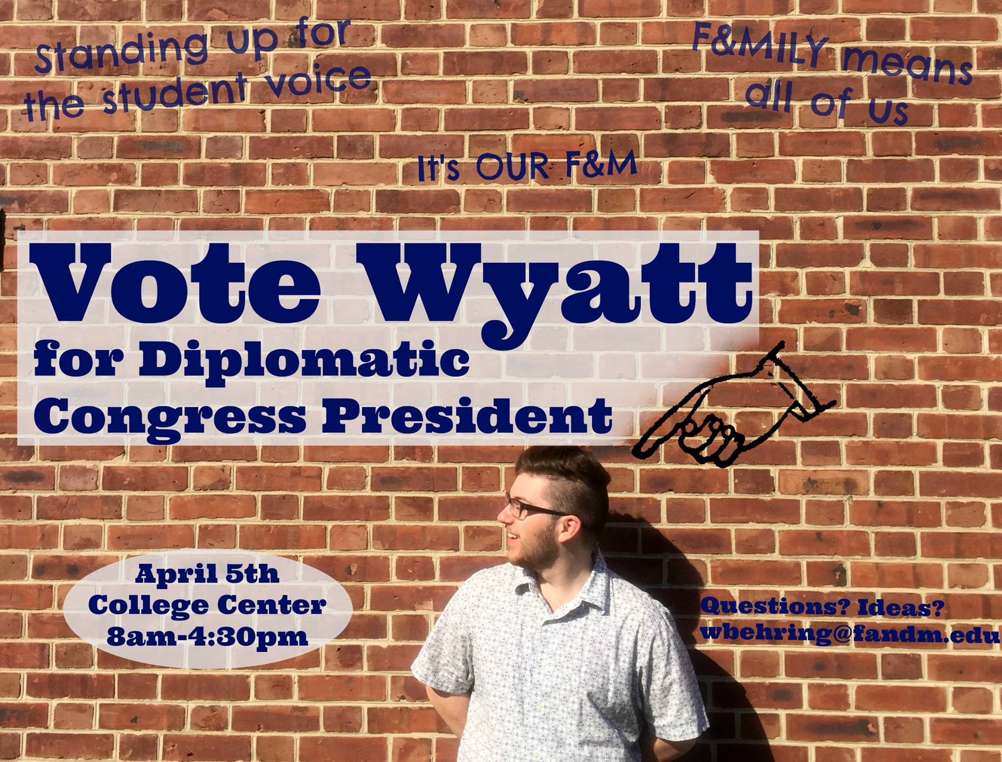 Wyatt Behringer '18 was elected president of the Diplomatic Congress. He campaigned by using social media to broadcast his messages to students.