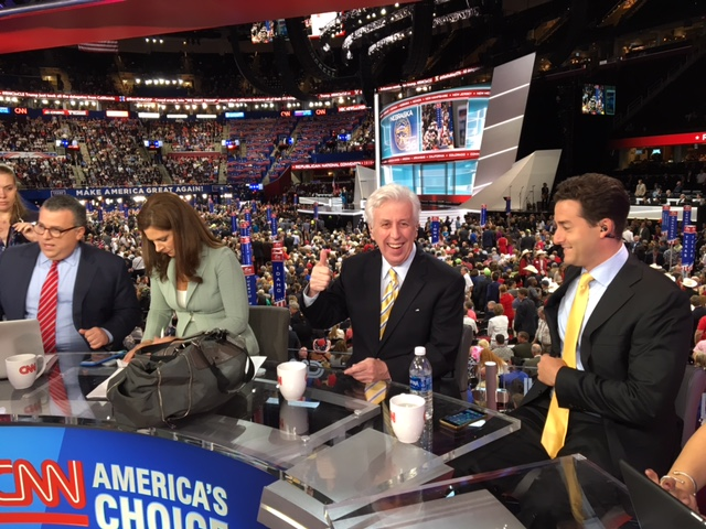 Lord on the CNN panel before going live, with CNN anchor Erin Burnett of Erin Burnett OutFront, at the 2016 GOP Convention in Cleveland, Ohio.
